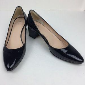AQUATALIA Phoebe Patent Black Block Heel Pumps 9